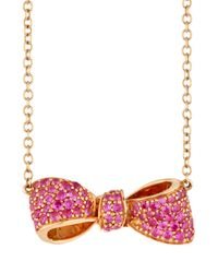Mimi So | 18k Rose Gold & Pink Sapphire Petite Bow Pendant Necklace | Lyst