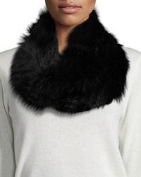 Adrienne Landau | Black Fur Knit Cowl Scarf | Lyst