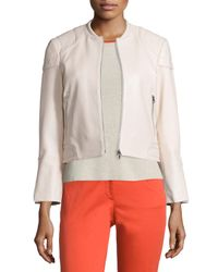 Rag & Bone | White Astor Leather Zip-front Jacket | Lyst
