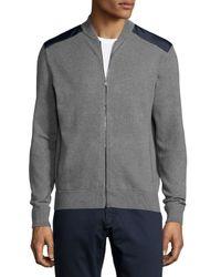 Michael Kors | Gray Contrast-patch Zip-front Sweater for Men | Lyst