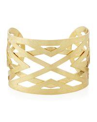 Panacea - Metallic Scratched Golden Cuff Bracelet - Lyst
