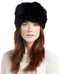 Adrienne Landau | Black Textured Rabbit-fur Hat | Lyst
