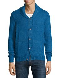 Original Penguin | Blue Tweed Button-front Cardigan Sweater for Men | Lyst