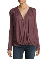 Bobeau | Multicolor Surplice V-neck Long-sleeve Top | Lyst