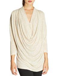 Bobeau | Metallic Shimmer-knit Cowl-front Top | Lyst