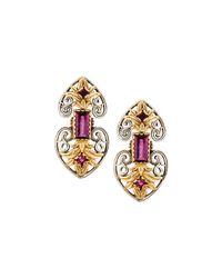 Konstantino | Red Artemis Rhodolite Double-heart Drop Earrings | Lyst