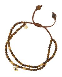 Tai | Brown Tiger's Eye Beaded Bracelet W/ Evil Eye Charm | Lyst