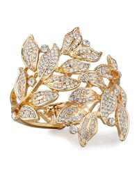 Lydell NYC | Metallic Pave Crystal Leaves Statement Cuff Bracelet | Lyst