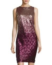 Chetta B | Purple Sleeveless Ombré Sequined Sheath Dress | Lyst