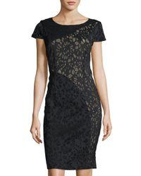 Laundry by Shelli Segal - Black Short-sleeve Laser-cut Sheath Dress - Lyst