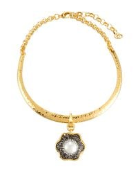 Jose & Maria Barrera | Metallic Hammered Collar Necklace W/ Floral Crystal Pendant | Lyst