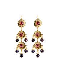 Jose & Maria Barrera | Purple Linear Triple-drop Earrings | Lyst