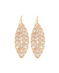 Panacea | Brown Beaded Marquise Drop Earrings | Lyst