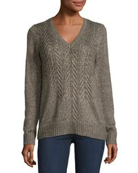 MICHAEL Michael Kors | Brown Cable-front V-neck Sweater | Lyst