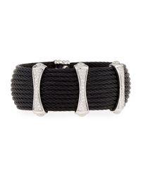 Alor   Black Noir 10-row Cable Cuff Bracelet W/ Pave Diamond Stations   Lyst