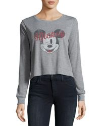 David Lerner - Gray Mickey Mouse Long-sleeve Ribbed Graphic Tee - Lyst