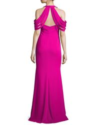 Badgley Mischka - Purple Draped-shoulder Stretch Crepe Gown - Lyst