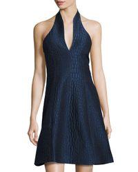 Halston Blue Halter-neck Embossed-alligator Print Dress
