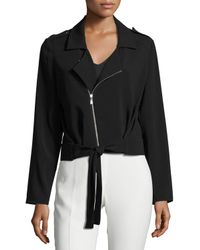 Laundry by Shelli Segal | Black Tie-front Crepe Jacket | Lyst