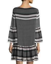 Max Studio Black Printed Crimped Drop-waist Dress