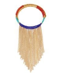 Panacea | Blue Beaded Statement Choker Necklace W/ Fringe | Lyst
