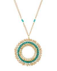 Panacea | Blue Long Wire-wrapped Crystal Circle Pendant Necklace | Lyst