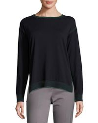 Lafayette 148 New York Blue Relaxed Sweater With Contrast Trim