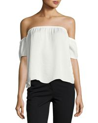 Lucca Couture | Black Off-the-shoulder Satin Top | Lyst