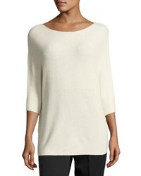 VINCE | Blue Cashmere 3/4-sleeve Boat-neck Sweater | Lyst