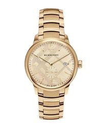 Burberry   Metallic 40mm Classic Round Bracelet Watch W/ Check Dial   Lyst