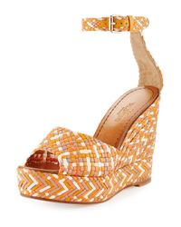 Valentino | Orange Woven Leather Wedge Sandal | Lyst