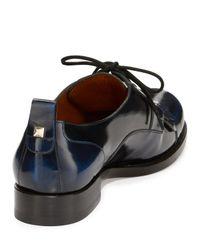 Valentino - Black Leather Kiltie Derby Oxford for Men - Lyst