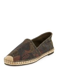 Valentino | Brown Butterfly-print Espadrille Flat | Lyst
