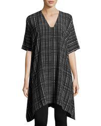 VINCE | Black Interlace-print V-neck Silk Poncho Dress | Lyst
