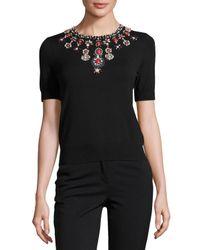 Catherine Malandrino | Black Beaded-neck Short-sleeve Knit Top | Lyst