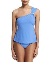 MICHAEL Michael Kors | Blue Watchband-strap One-shoulder Tankini Swim Top | Lyst