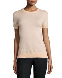 Michael Kors | Natural Cashmere Short-sleeve Overlock T-shirt | Lyst