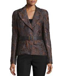 Donna Karan | Gray Narrow Belted Jacket | Lyst