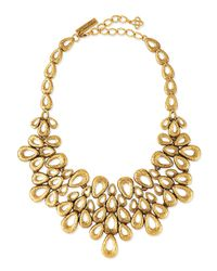 Oscar de la Renta - Metallic Gold-plated Teardrop Bib Necklace - Lyst