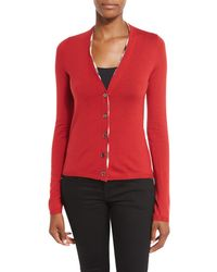 Burberry | Red Check-placket Wool Cardigan | Lyst