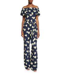 Michael Kors | Blue Off-the-shoulder Floral-print Jumpsuit | Lyst