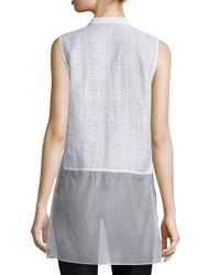 Lafayette 148 New York White Indira Sleeveless Sheer-hem Blouse