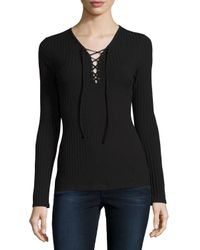 Romeo and Juliet Couture Black Lace-up Ribbed Top