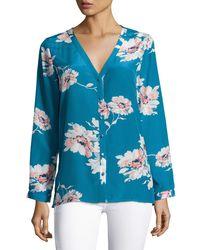 Joie   Black Michi Floral-print Silk Blouse   Lyst