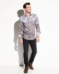 1 Like No Other Purple Floral & Paisley Button Shirt for men