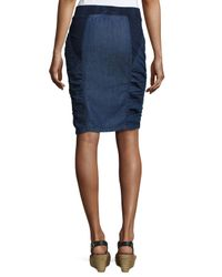 XCVI Blue Parisa Ruched-bottom Skirt