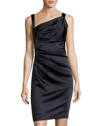 Vera Wang | Blue Sleeveless Asymmetric-neck Ruched Dress | Lyst