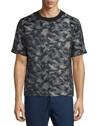 Public School Blue Camouflage-print Short-sleeve T-shirt for men
