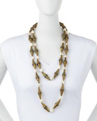 Devon Leigh | Metallic Etched Brass & Pearly Double-strand Necklace | Lyst
