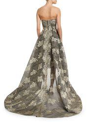Monique Lhuillier - Multicolor Strapless Bonded Lace High-low Gown - Lyst